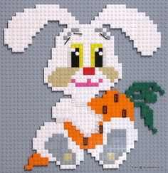 LEGO bunny and carrot art Lego Toys, Lego Duplo, Mosaic Patterns, Beading Patterns, Lego Poster, Lego Challenge, Lego Wall, Lego Activities, Lego Craft