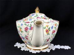 James Sadler Chintz Teapot - Shabby Wildflowers, Antique White, Floral Transferware Tea Pot 12955