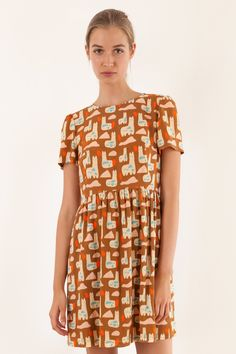 Short sleeves dress - print by Anna Kövecses - Women's Clothing Online Made in…