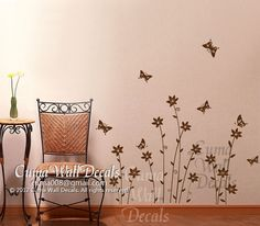 Flower butterfly wall decals tree vinyl wall decals Sticker girl children wall decals nursery wall art - butterfly and  flowers Z123 by Cuma via Etsy