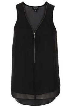 Sleeveless Zip V-neck Top