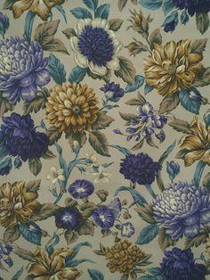 Textilie dle metráže | Modré a žluté květy na šedé CA338 | INTERIÉROVÉ TEXTILIE | čalounické látky,dekorační textilie, látky na závěsy a přehozy, potahové látky