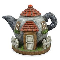 The perfect addition to your magical miniature garden! This package contains one inch fairy garden teapot house. Clay Fairy House, Fairy Garden Houses, Miniature Fairy Gardens, Miniature Houses, Bottle Art, Bottle Crafts, Polymer Clay Fairy, Clay Teapots, Clay Fairies