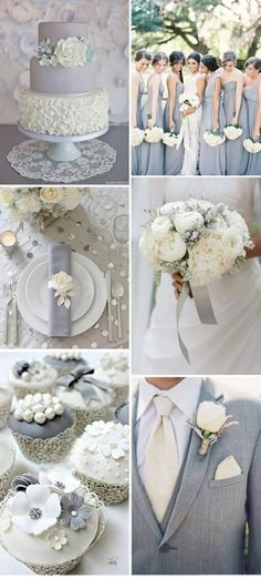 silver wedding decorations, Grey and White wedding idea. Check out our Grey Satin Kimono Bridesmaids Robe for bridesmaids and bridal robe. It would be great subsidiary for your wedding plans. Grey Wedding Theme, Wedding Color Schemes, Wedding Suits, Wedding Themes, Trendy Wedding, Perfect Wedding, Our Wedding, Dream Wedding, Wedding Dresses