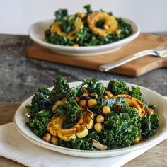 Roasted Delicata Squash and Chickpea Kale Salad with Miso-Harissa Dressing.