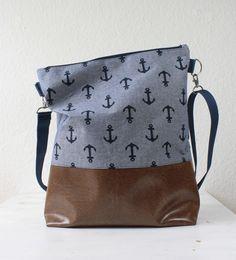 Umhängetaschen - Indigo Anker Tasche Messenger - ein Designerstück von niemalsmehrohne bei DaWanda