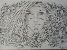 Lowrider Aztec Art | Aztec Woman Drawings Art Lowrider Arte Tattoo