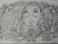 Art Drawings of Women | Aztec Design Drawing by Lupe Gonzalez - Aztec Design Fine Art Prints ...