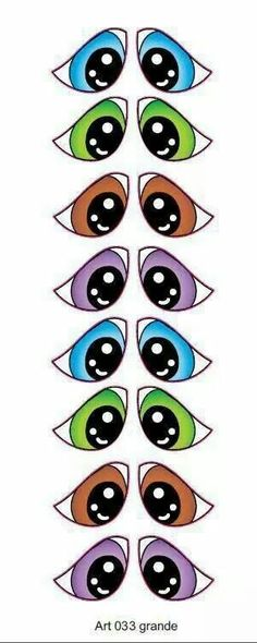 Ojos                                                                                                                                                                                 Más Clay Pot Crafts, Doll Crafts, Cartoon Eyes, Cartoon Drawings, Silhouette Cameo, Craft Eyes, Flower Pot People, Pattern Coloring Pages, Drawing Expressions