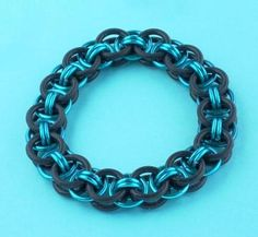 Chainmaille Bracelet Black Rubber Rings with Turqoise Rings Rubber Rings, Chainmaille Bracelet, Black Rubber, Bracelets, Crafts, Jewelry, Manualidades, Jewlery, Jewerly