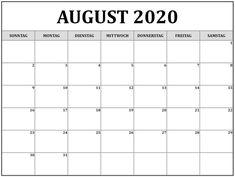 Kalender 2020 August Kalender August, Free Printable Calendar, Thursday, Templates