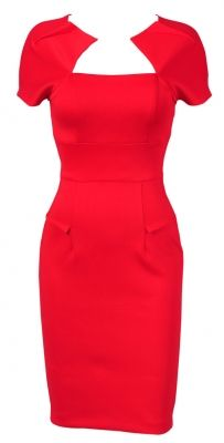 'HOLLYWOOD' RED GALAXY PENCIL WIGGLE DRESS