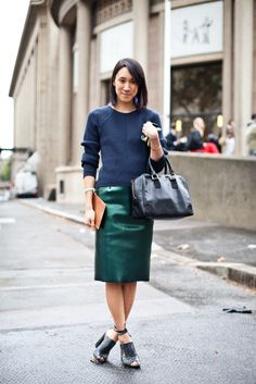How to style your leather skirt for work? 1. Go Luxe with a sweater 2. Button up or tie it up 3. Add tights 4. Layer with a big blazer