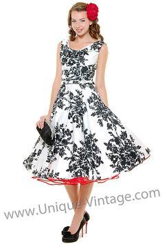 Unique Vintage - Black & White Blanc! Noir! Fleur! Scoop Neck Belted Swing Dress