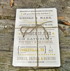 Wedding Invitation Rustic Mason Jar Heart by WideEyesPaperCo