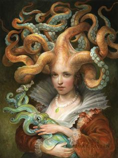 17th-Century Octopus Contessa Holding Her Beloved Squid, oil painting by Omar Rayyan, 2011