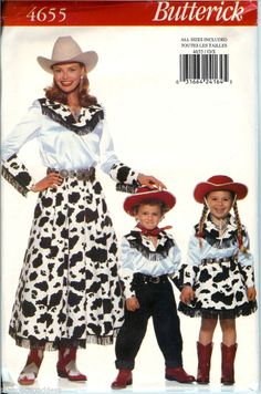 1747a9da5d3 Butterick Misses Kids Country Cowgirl Cowboy Costume Pattern 4655 UNCUT FF  Halloween Costume Patterns