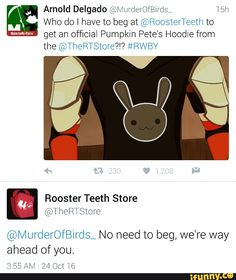 Omg is there really gonna be a Pumpkin Petes hoodie??? #rwby #roosterteeth #volume4