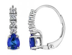 Blue Sapphire Earrings with Diamonds 1.0 Carat (ctw) in 14K White Gold