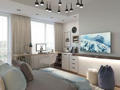 42 Ideas For Home Office Space Kids Bedroom Desk, Cozy Bedroom, Living Room Flooring, Living Room Decor, Student Bedroom, Home Office Space, Small Space Living, Trendy Bedroom, Home Furniture