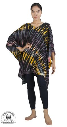 Siam Secrets One Size Tie Dye Poncho Cover-up Shawl Tunic Caftan Topper Poncho Tops, Elegant Woman, Fashion Brands, Summer Outfits, Tie Dye, Womens Fashion, Shawl, Tunic, Clothes