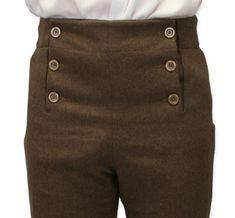 Fall Front Trousers - Fawn Brown Gentleman's Emporium, also in black and gray Men Trousers, Mens Dress Pants, Men's Pants, Fashion Moda, Mens Fashion, Designer Suits For Men, Designer Pants, Formal Pants, 1800s Fashion