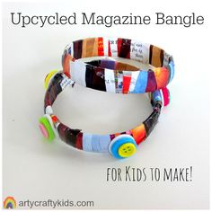 Upcycled Magazine Bangle: It's the perfect craft for kids to get creative and make something unique and very pretty. Great for developing fine motor skills and super fun!