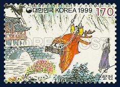 LITERATURE SERIES(5th), Chunhyangjeon, Character, Story, Ivory, scarlet, 1999 10 20, 문학시리즈(다섯번째묶음), 1999 년 10월 20일, 2012, 춘향전, Postage 우표