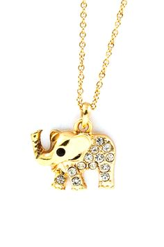 Crystal Elephant Pendant in Gold on Emma Stine Limited