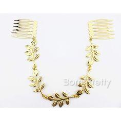 $ 5,28 1pc Exquisite Golden Hair Comb folhas delicadas Design Faixa de cabelo - BornPrettyStore.com