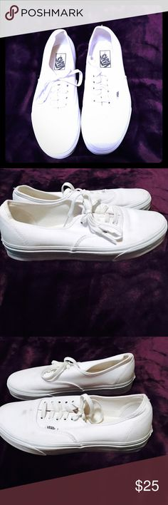 White Vans. Size 10 women and 8.5 in mens. All white Vans. Great shoes, have a little wear, so price is negotiable. Vans Shoes Sneakers