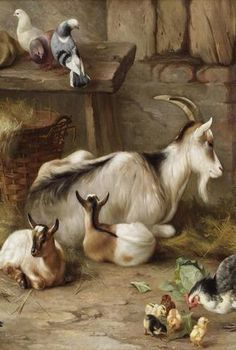 Little Girl Showing Puppies to Baby Goat by Edgar Hunt