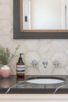 "Series: Artillo tile Size/Shape: 6"" Hexagon Color: Early Gray Texture: Limestone #homestyle #designinterior #luxurydesign #walltile #prettylittlespaces #handwashing #coastalliving #coastalluxury #southbaysocialmedia #mydayinthesouthbay #bathroomdesign #bathroomgoals  #hexagontiles #tileismystyle #artillotile #homeinspiration #homestyle #luxuryhome #myhomesense  #prettyplacestowashyourhands Early Grey, Surface Studio, Powder Room Design, Door Numbers, Hexagon Tiles, Bathroom Goals, Tile Design, Wall Tiles, Luxury Homes"