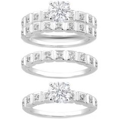 Fancy - Diamond Sections Engagement Ring & Matching Wedding ring