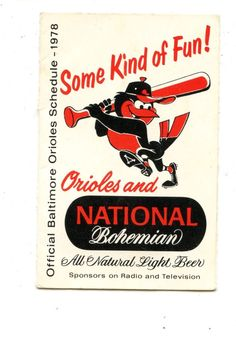 1978 BALTIMORE ORIOLES NATIONAL BOHEMIAN BEER SCHEDULE SEE SCAN