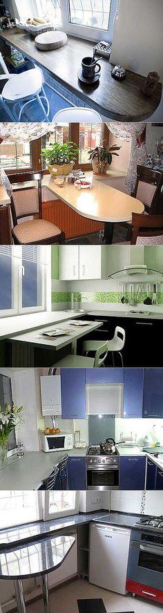 Стол-подоконник на малогабаритной кухне | Наш уютный дом