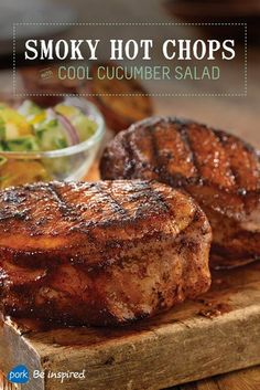 Pork chops coated in a marinade made from paprika, hot sauce and cayenne pepper paired with a cool cucumber and tomato side salad: the perfect fall dish. Grill it up tonight!