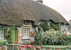 Irish Landscape Ireland Photography Green Door Thatched Cottage Home Wall Decor Art Architecture Print