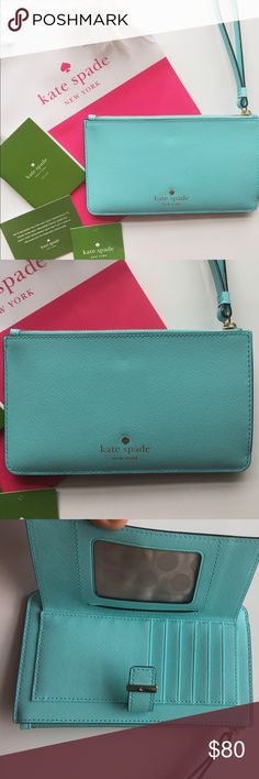 """NWT Kate Spade """"Karolina"""" wallet/ wristlet Hot seller for the summer! Holds my IPhone 6s as well. This is a wallet and wristlet, brand new with tags and comes with the Kate spade shopping bag. Holds 6 cards or more. Great organization!  Wristlet strap included with snap closure and back zipper with gold plated hardware. 7.25""""Lx 4.25 H. This is a turquoise color like a Tiffany blue. Not a mint color. Color is exactly as shown. No trades ty kate spade Bags Clutches & Wristlets"""