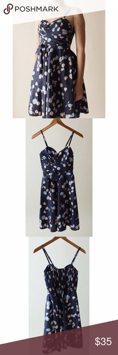 Navy Blue Dress with Cream and Blue Polka Dots Navy blue dress with cream and blue polka dots from H&M, size 2. Only worn once and in great condition. Perfect for summer. • No Trades                                                                • Please use OFFER button for reasonable offers H&M Dresses