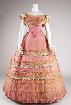Ball gown Date: ca. 1868 Culture: French Medium: silk