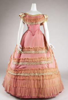 Ball gown Date: ca. 1868 Culture: French Medium: silk