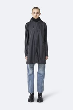 This is the Black Lightweight Jacket by stunning brand Rains. This is a functional and unisex rain jacket with a casual fit. Made from a waterproof lightweight fabric with an a-shaped silhouette, this unisex rain jacket has an elegant appearance. It is completed with hidden snap buttons and a front placket. Features a drawstring hood with Rains' signature built-in cap, paspel pockets and snap-button cuffs. Rain Gear, Silhouette, Waterproof Fabric, Line Jackets, Lightweight Jacket, Parka, Tommy Hilfiger, Cool Style, Jackets