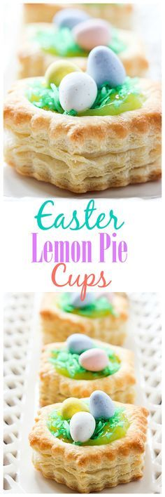 These little Easter Lemon Pie Cupcakes are such a pretty dessert for the Easter dessert table. Everyone gets their own and no one has to share! | http://mandysrecipeboxblog.com