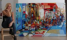 Urban view. city large scale painting. people. Tel-Aviv, contemporary art