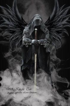 angel of death black wings hooded face sword, grim reaper