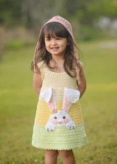 So Hoppy (Bunny Dress) by Lisa Naskrent of Crochet Garden |  | 2017 NatCroMo Blog Tour | March 6