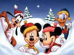 Goofy, Mickey, Minnie y Donald