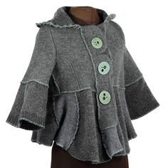 seafoam mandala jacket - reconstructed wool from Secret Lentil, with buttons from roundrabbit
