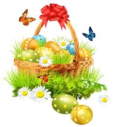 Easter Basket with Eggsand Butterflies PNG Clipart Picture